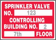 Sprinkler Valve No. ___ Controlling Building No. ___ ___ Floor