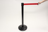 Blockade Retractable Belt Tape Barriers- Black  Post and Red Belt Tape (1 Post) indoor