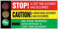 Signal Safety Scoreboard- LED-Lite Stop A Lost Time Accident  Accuform SCT921