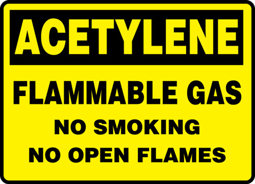 Acetylene Flammable Gas No Smoking No Open Flames