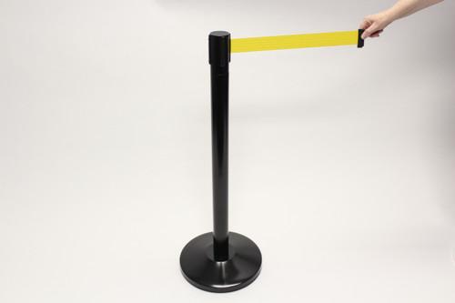 Blockade Retractable Belt Tape Barriers- Black Post and Yellow Belt Tape (1 Post) indoor