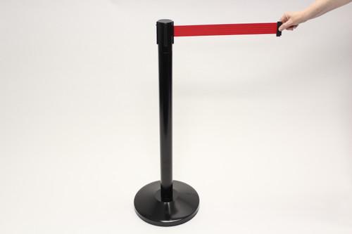 Blockade Retractable Belt Tape Barriers- Black  Post and Red Belt Tape (1 Post) indoor