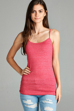Heathered Adjustable Spaghetti Strap Basic Top
