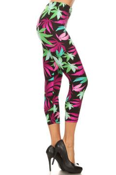 Fuchsia Marijuana Plus Size Capris