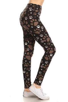 High Waisted Muddy Paw Print Plus Size Leggings