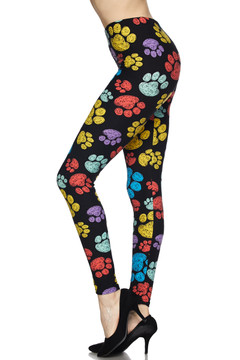 Summer Paw Print Plus Size Leggings