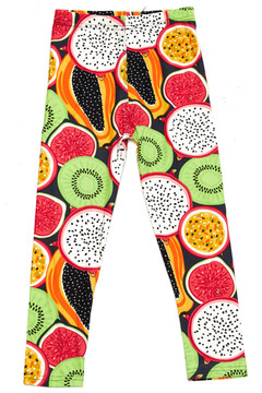 Brushed Colorful Tropical Fruit Kids Leggings