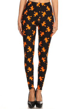 Brushed Broomstick Witches Halloween Plus Size Leggings
