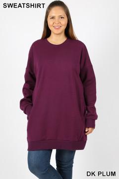Premium Oversized Round-Neck Plus Size Fleece Lined Sweatshirt with Pockets