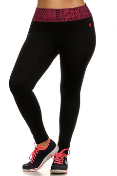 Crimson Tribal Sport Leggings - Plus Size