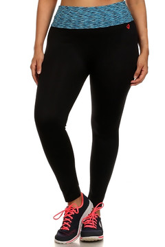Blue Heather Waist Sport Leggings - Plus Size