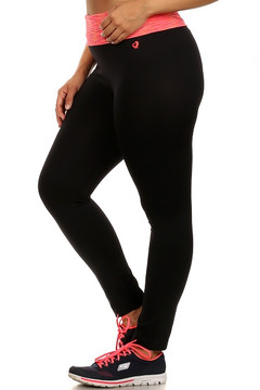 Coral Heather Waist Plus Size Sport Leggings