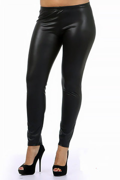 Matte Faux Leather Plus Size Leggings