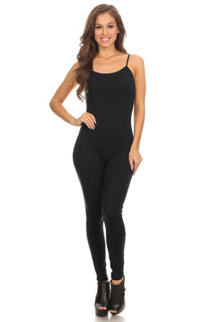 Black Spaghetti Strap Cotton Tank Jumpsuit