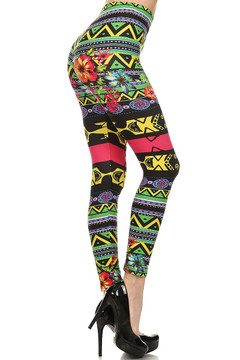 Electric Tribal Flower Leggings