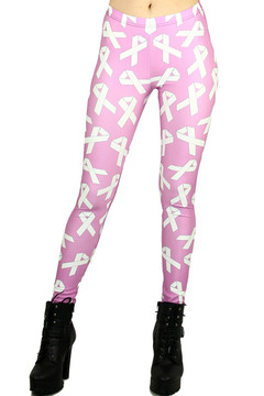 White Awareness Ribbon Leggings