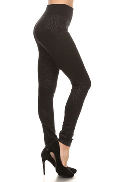 Zebra Embossed Fleece Lined Leggings