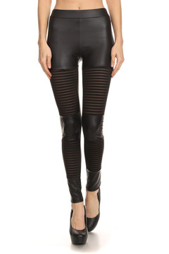 Striped Mesh Faux Leather Leggings