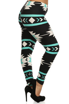 Mint on Black Tribal Aztec Leggings - Plus Size
