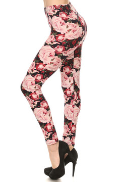 Lush Pink Rose Leggings  - Plus Size
