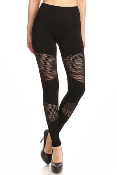 Premium Viper Mesh Black Leggings