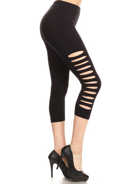 Side Slashed Black Capri Leggings