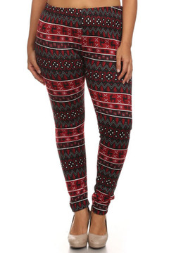 Dancing Ruby Reindeer Fur Lined Plus Size Leggings