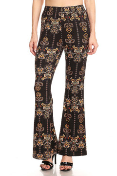 Gold Intricate Frond Bell Bottom Leggings