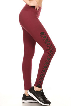 Burgundy Criss Cross Mesh Women's Sport Leggings