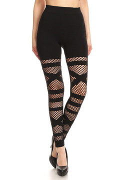 Sexy Banded Mesh Solid Black Leggings