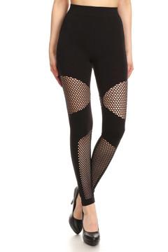 Sexy Block Mesh Solid Black Leggings