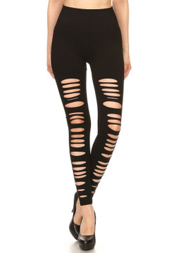 Front Multi Slashed Sport Leggings