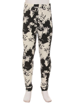 Wholesale Buttery Soft Contrast Floral Kids Leggings