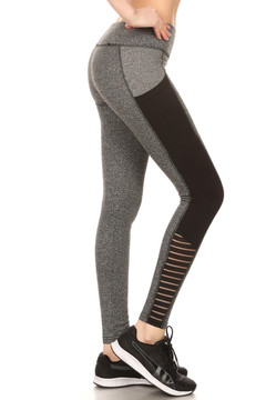 Full Impact Women's Workout Leggings - 01 Heather Gray with Black