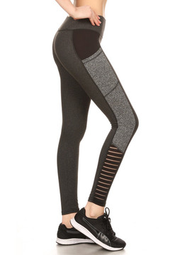 Full Impact Women's Workout Leggings - 02 Charcoal with Heather Gray
