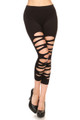 Front Multi Slashed Black Capri Leggings