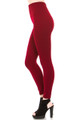 Side image of fashion model with one leg forward showing a Burgundy Banded High Waisted Fleece Lined Legging with a ribbed high waisted fabric waist band and warm, tight fit and comfortable full length fit of the fleece fabric