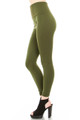 Side image of fashion model with one leg forward showing a Olive Banded High Waisted Fleece Lined Legging with a ribbed high waisted fabric waist band and warm, tight fit and comfortable full length fit of the fleece fabric