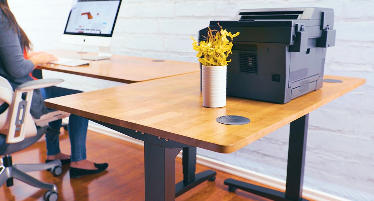 Build Your L Shaped Workstation Complete With A Height Adjustable Main Desk  And A