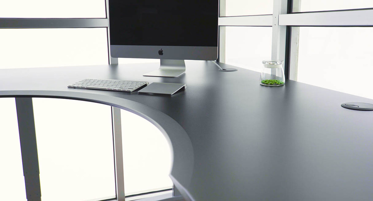 Spacious Desktop Surface Features An Inside Corner Cut Out Ergo Edge And A  Smooth Finish