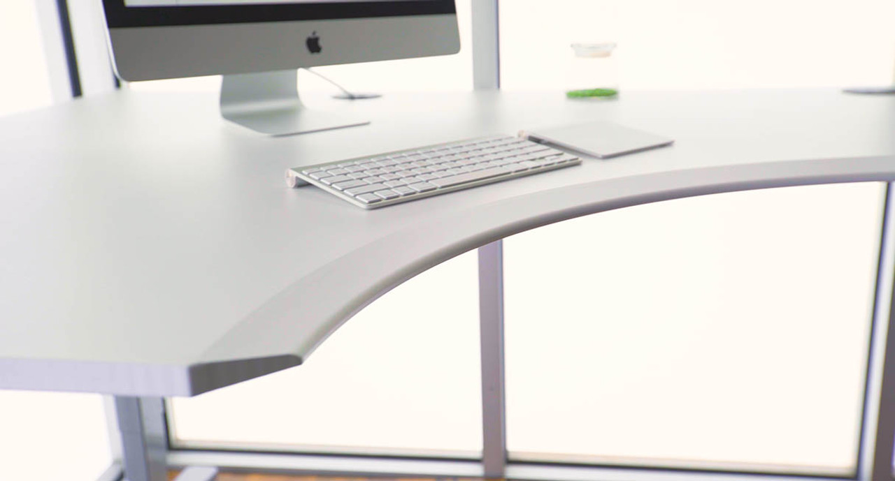 UPLIFT Eco Corner Sit-Stand Desk with L-Shaped Top | Sit-to-Stand Desk