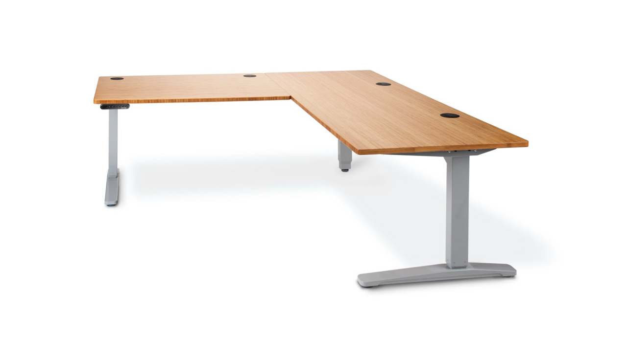 The Uplift Height Adjustable Standing Desk With L Shaped Bamboo Top