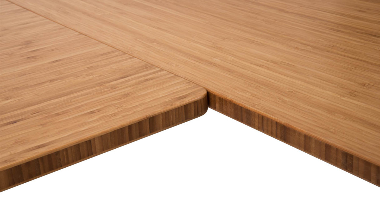 Close Up Of The Inside Corner On The L Shaped Bamboo Desk, Featuring  Beautiful