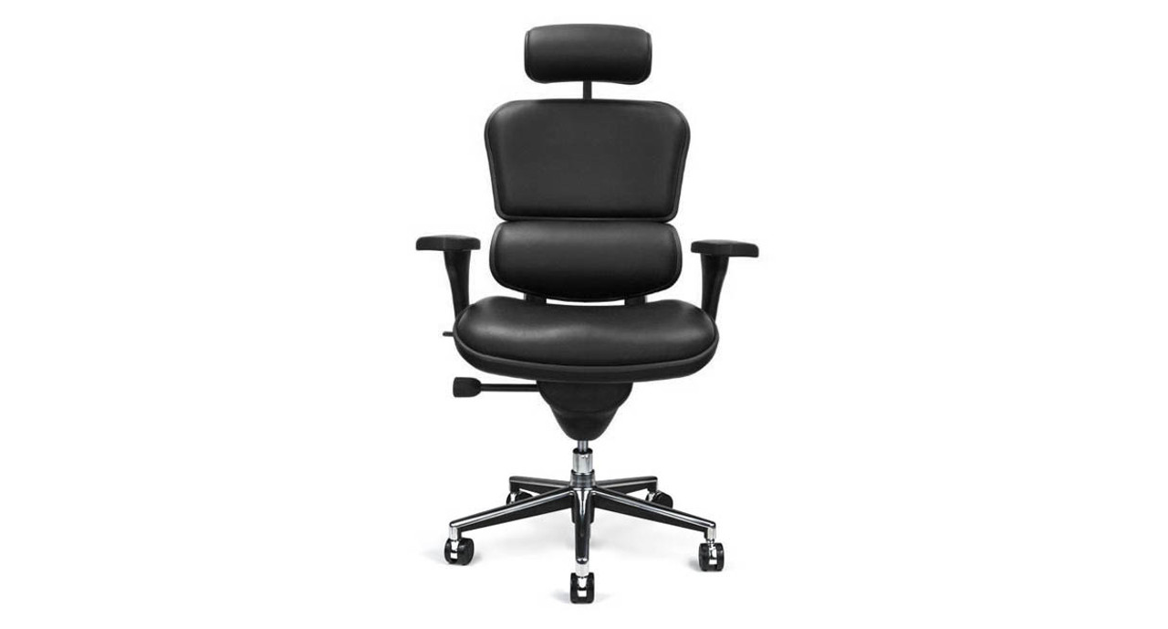 The Raynor Ergohuman Leather Chair With Headrest Is Available With A Padded  Black Leather Seat,