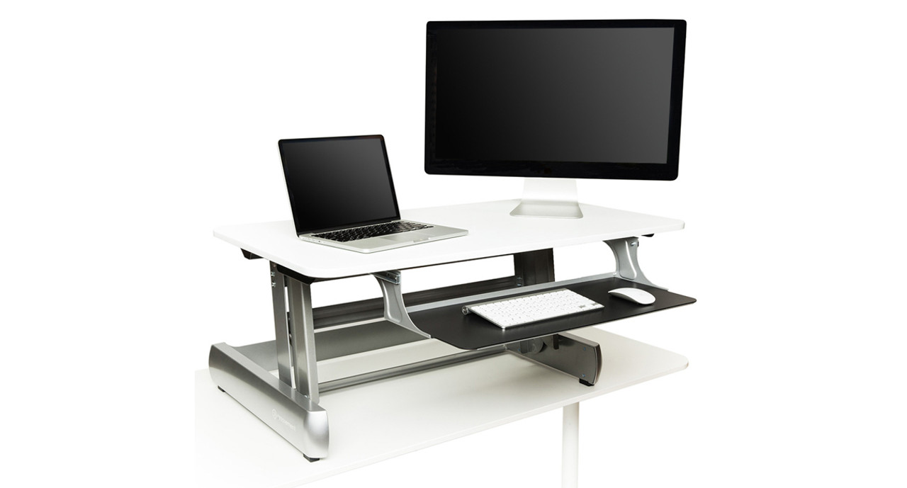The Life Fitness Inmovement Elevate Desktop Dt2 Standing Desk S Large 41 Surface Area Supports A