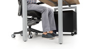 """The 29"""" of height is spacious enough to fit your PC, your rolling file cabinet, or you! Use the table as a sitting desk."""