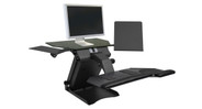 Entire system fits on your desktop to create an instant sit-to-stand workstation