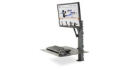 Monitor mount features an integrated tilter for viewing angle adjustments