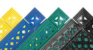 Diamond patterned, vinyl surface is made from 100% recycled PVC