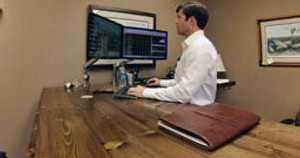 Custom Desk Spotlight - UPLIFT 950 L-Shaped Standing Desk in Pine!
